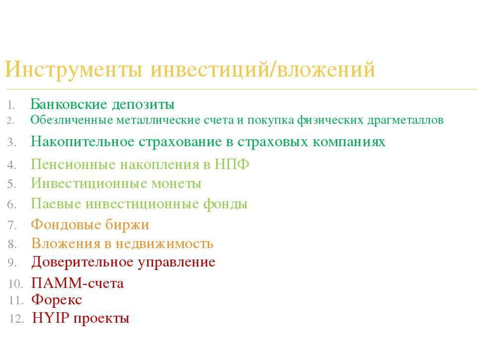 Инструменты инвестиций/вложений Банковские депозиты Обезличенные металлически...