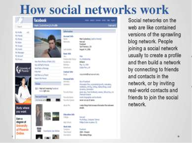 How social networks work Social networks on the web are like contained versio...