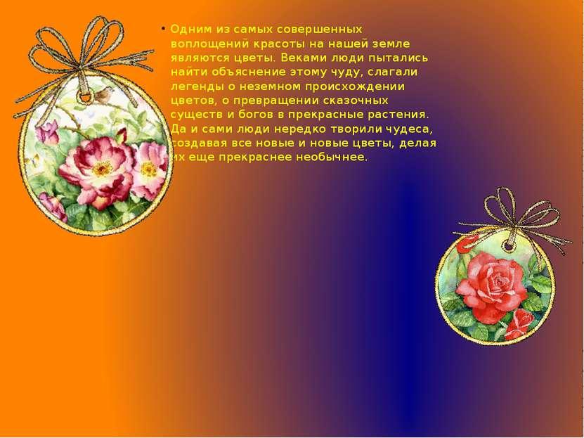 Одним из самых совершенных воплощений красоты на нашей земле являются цветы. ...