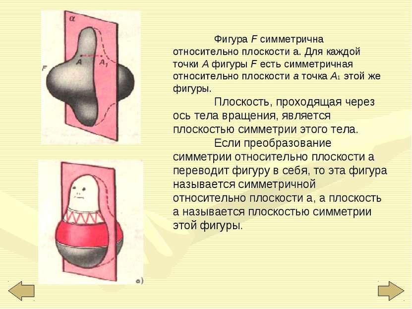 Фигура F симметрична относительно плоскости а. Для каждой точки А фигуры F ес...