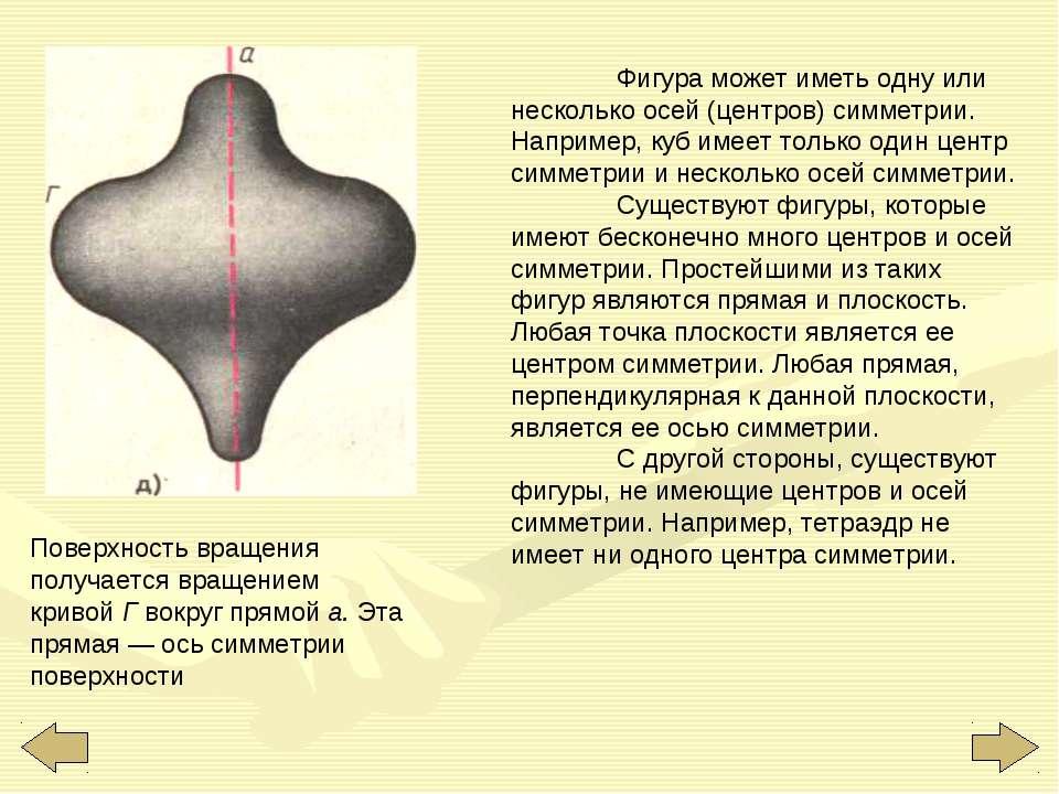 Поверхность вращения получается вращением кривой Г вокруг прямой а. Эта пряма...