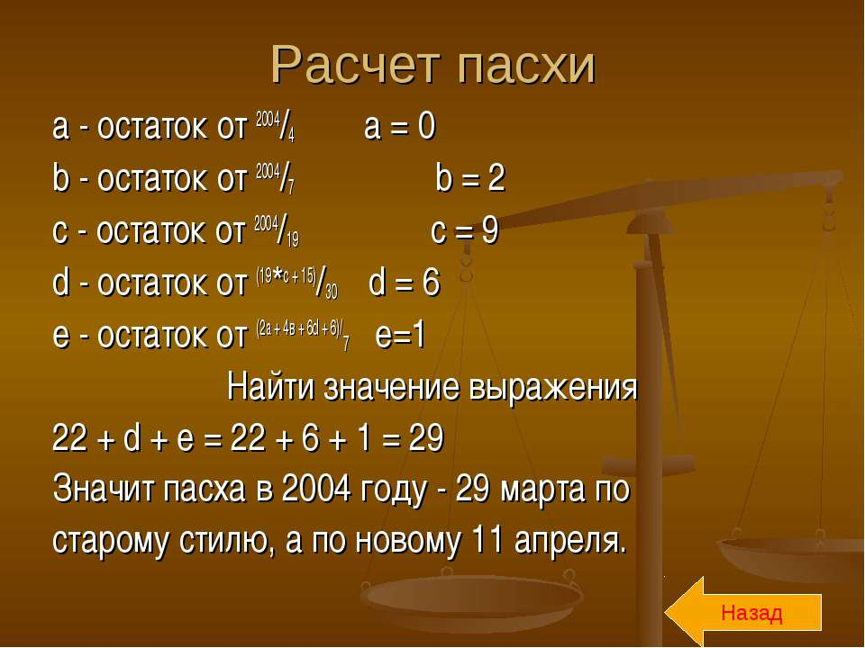 Расчет пасхи a - остаток от 2004/4 a = 0 b - остаток от 2004/7 b = 2 с - оста...