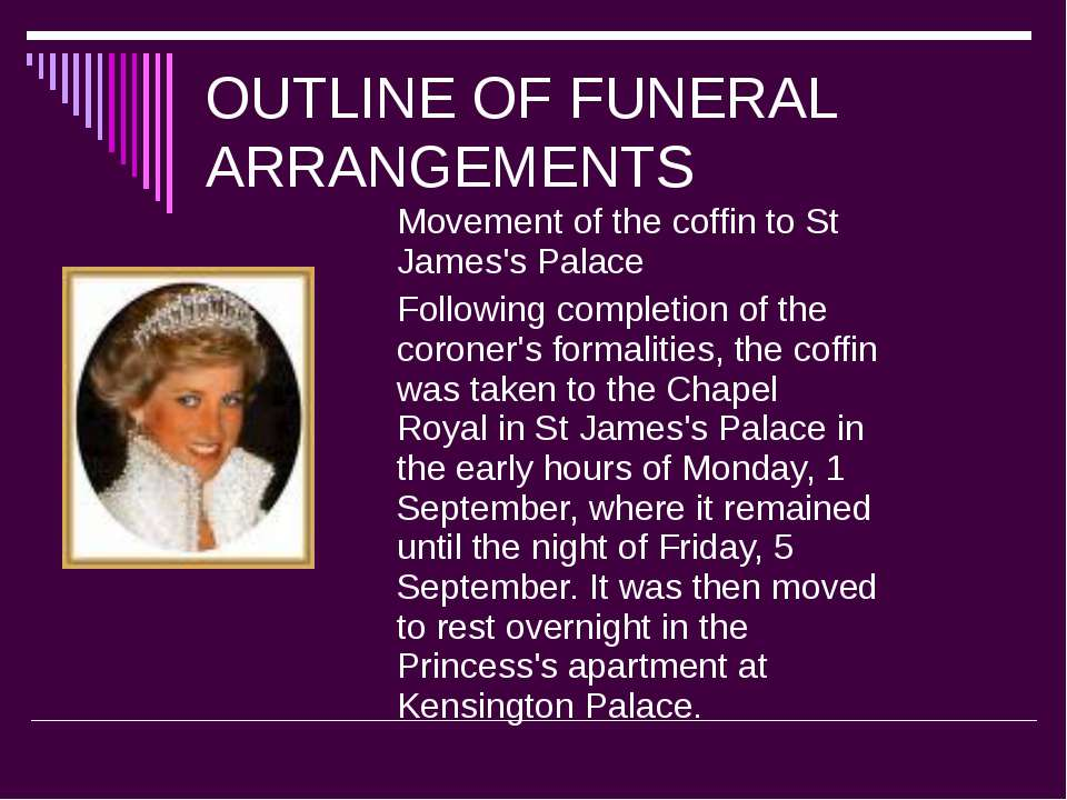 OUTLINE OF FUNERAL ARRANGEMENTS Movement of the coffin to St James's Palace F...