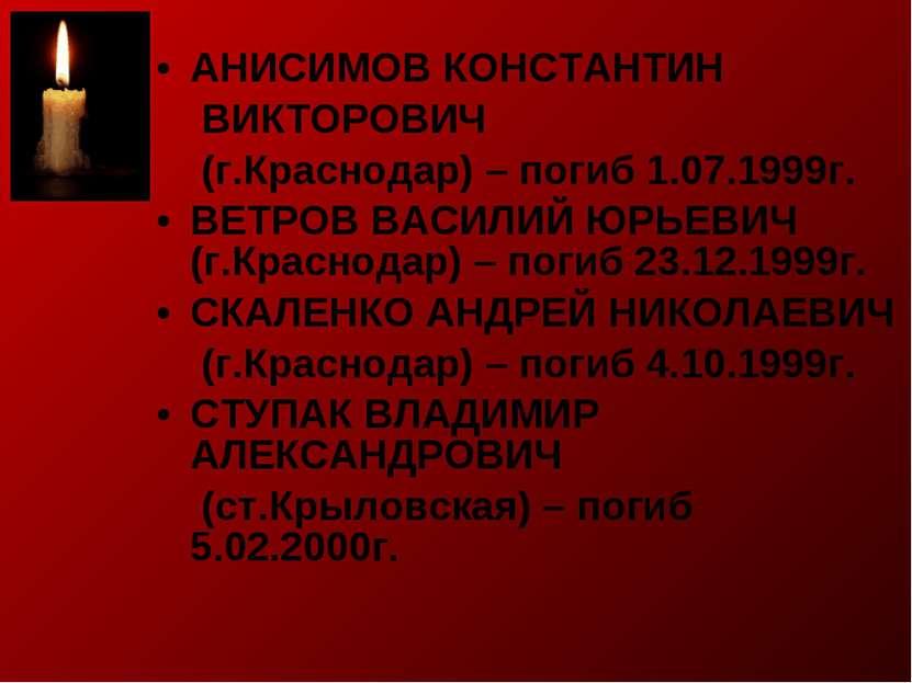 АНИСИМОВ КОНСТАНТИН ВИКТОРОВИЧ (г.Краснодар) – погиб 1.07.1999г. ВЕТРОВ ВАСИЛ...