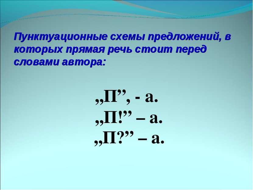 Пунктуационные схемы предложений, в которых прямая речь стоит перед словами а...