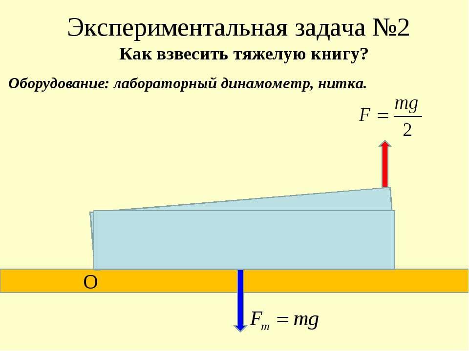 Экспериментальная задача №2 О С Как взвесить тяжелую книгу? Оборудование: лаб...