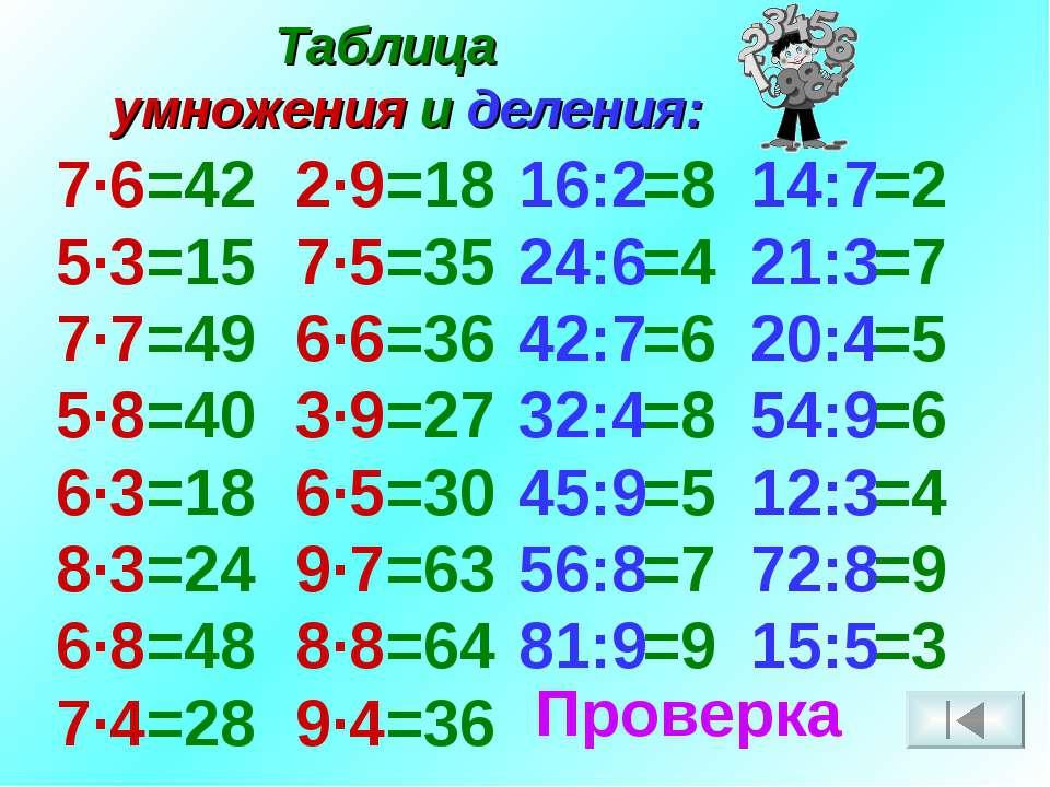 Таблица умножения и деления: 7·6 5·3 7·7 5·8 6·3 8·3 6·8 7·4 2·9 7·5 6·6 3·9 ...