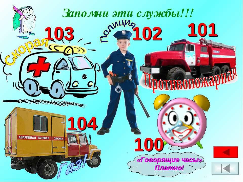 Запомни эти службы!!! 104 101 102 103 «Говорящие часы» Платно! 100