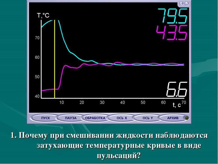 1. Почему при смешивании жидкости наблюдаются затухающие температурные кривые...