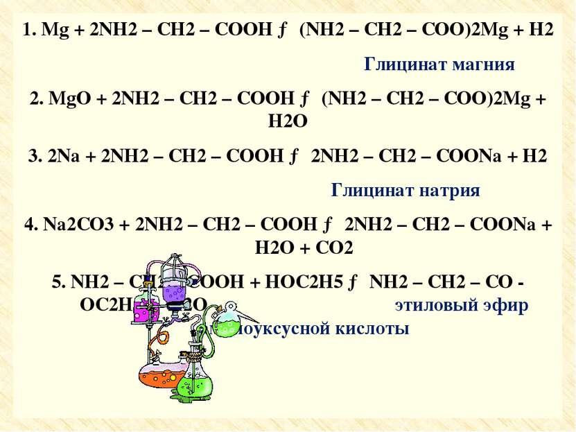 1. Mg + 2NH2 – CH2 – COOH → (NH2 – CH2 – COO)2Mg + H2 1. Mg + 2NH2 – CH2 – CO...