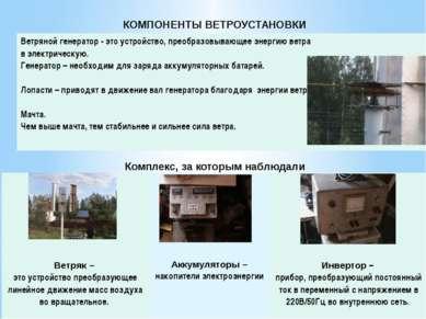 КОМПОНЕНТЫ ВЕТРОУСТАНОВКИ Комплекс, за которым наблюдали Ветряной генератор- ...