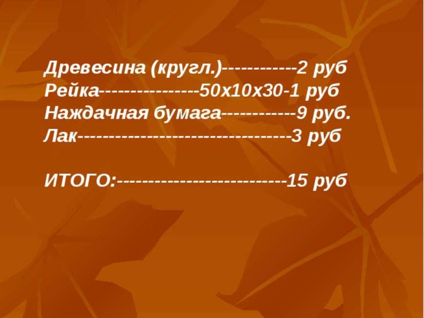 Древесина (кругл.)------------2 руб Рейка----------------50х10х30-1 руб Нажда...