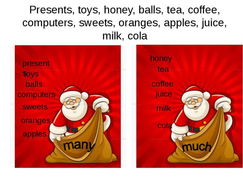 Presents, toys, honey, balls, tea, coffee, computers, sweets, oranges, apples...