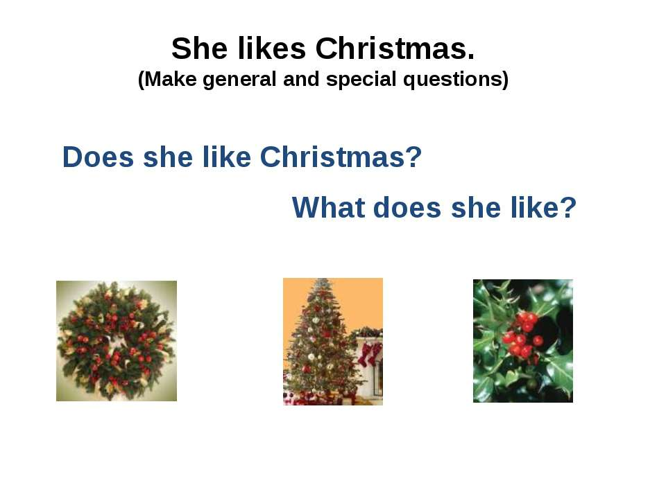 She likes Christmas. (Make general and special questions) Does she like Chris...