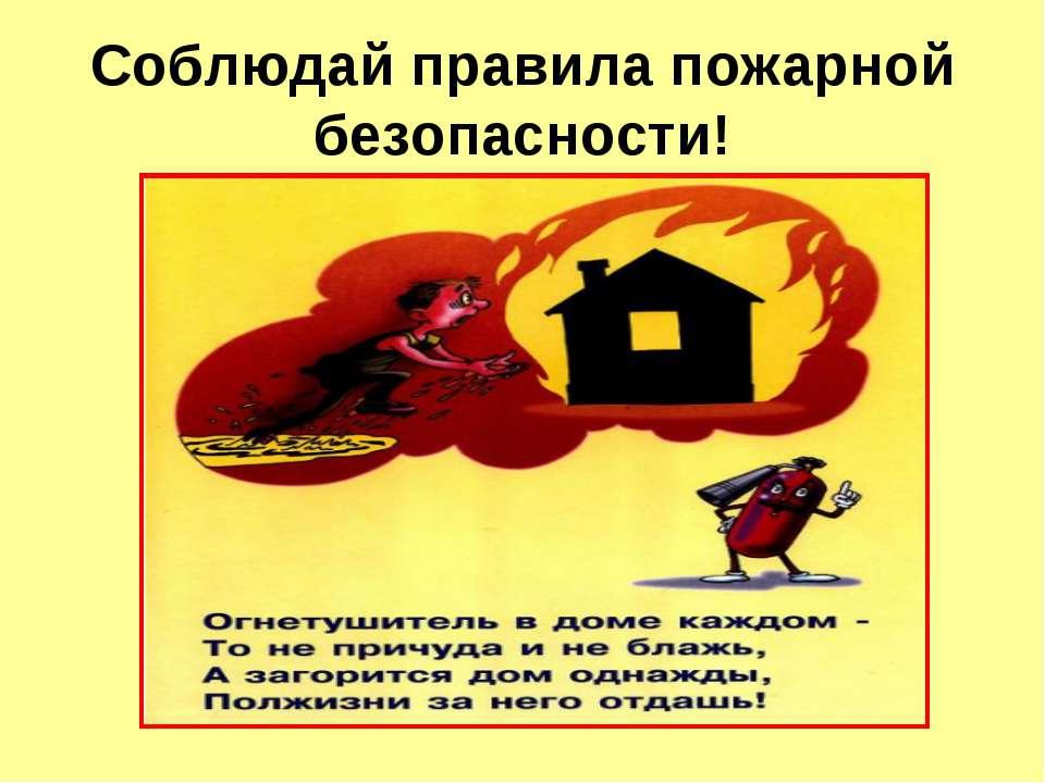 Соблюдай правила пожарной безопасности!