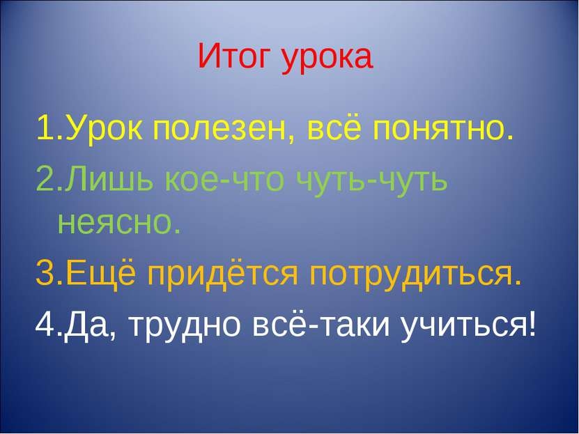 Итог урока 1.Урок полезен, всё понятно. 2.Лишь кое-что чуть-чуть неясно. 3.Ещ...