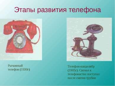 Этапы развития телефона Рычажный телефон (1930г) Телефон-канделябр (1905г). С...
