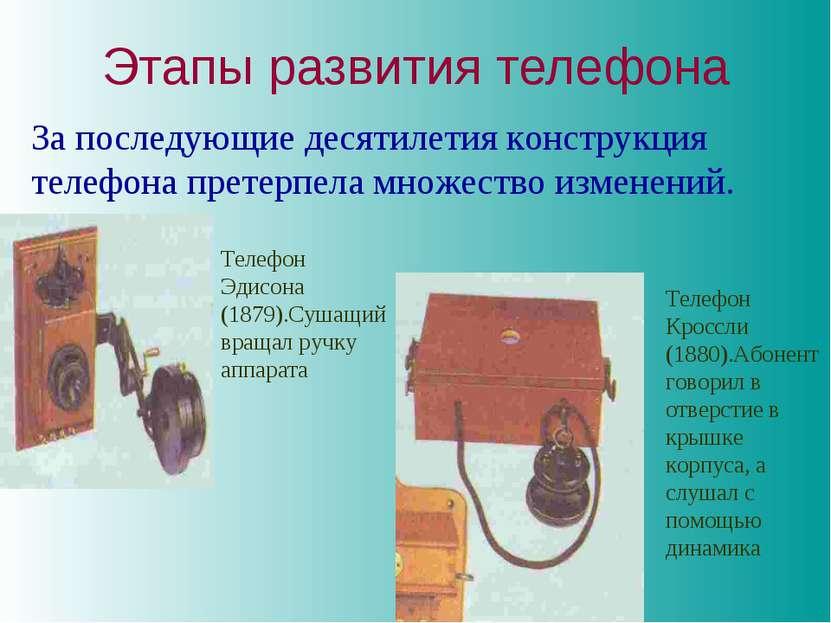 Этапы развития телефона За последующие десятилетия конструкция телефона прете...