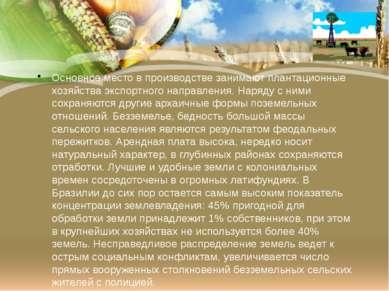 Основное место в производстве занимают плантационные хозяйства экспортного на...