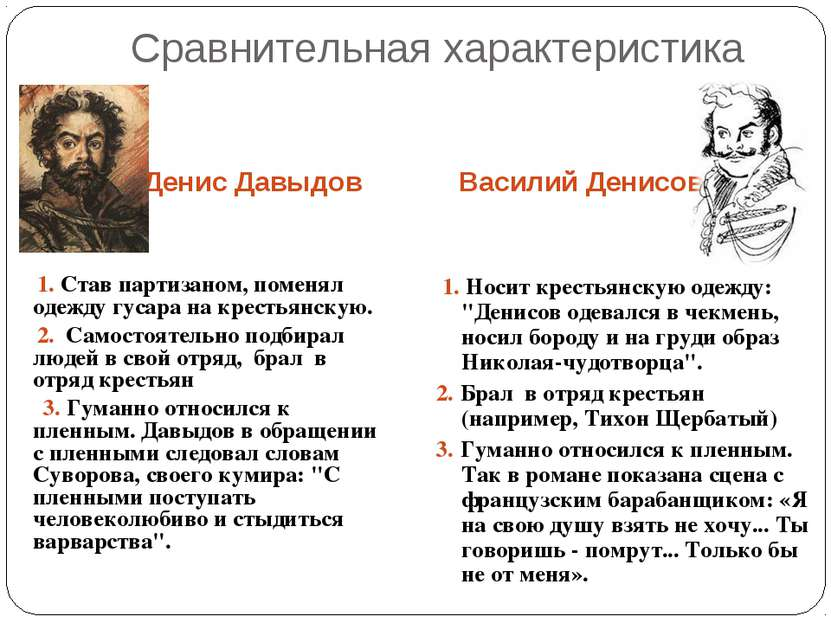 Сравнительная характеристика Денис Давыдов Василий Денисов 1. Став партизаном...