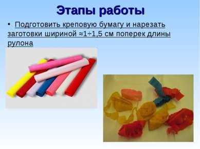Этапы работы Подготовить креповую бумагу и нарезать заготовки шириной ≈1÷1,5 ...