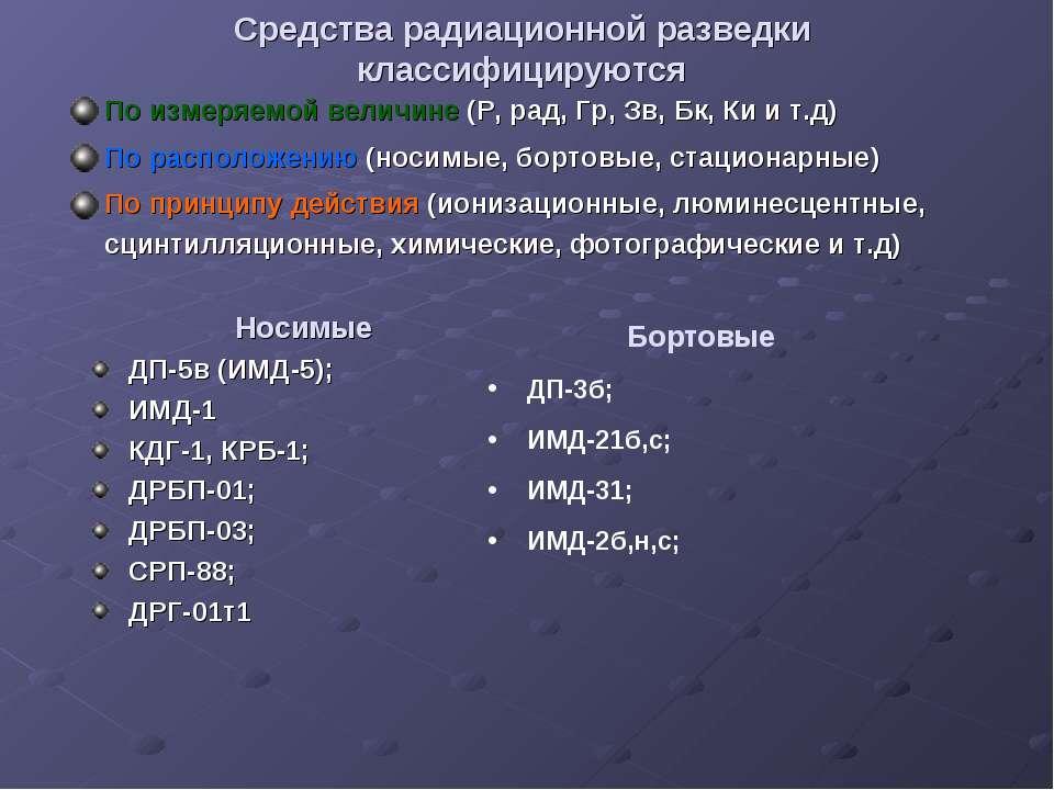 Средства радиационной разведки классифицируются По измеряемой величине (Р, ра...