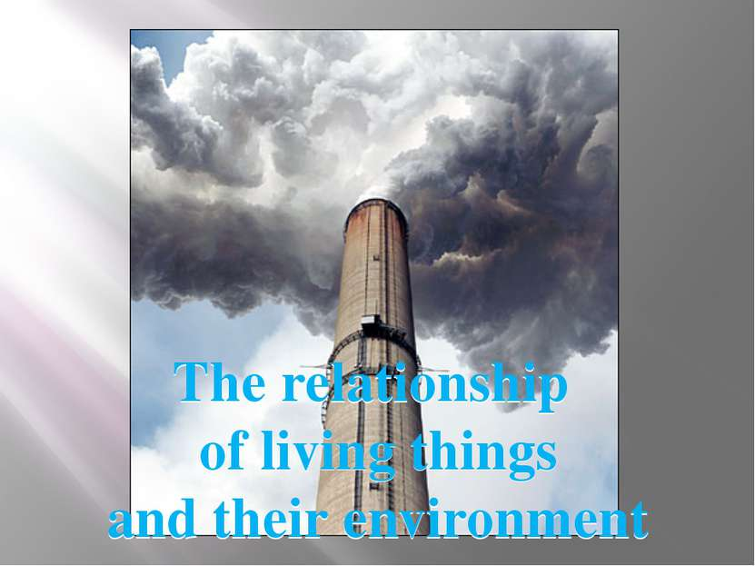 The relationship of living things and their environment The relationship of l...