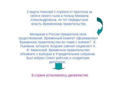 2 марта Николай II отрёкся от престола за себя и своего сына в пользу Михаила...
