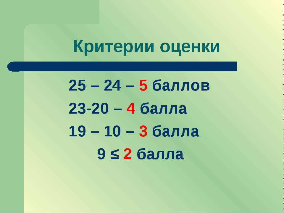 Критерии оценки 25 – 24 – 5 баллов 23-20 – 4 балла 19 – 10 – 3 балла 9 ≤ 2 балла