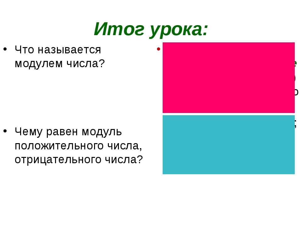 Итог урока: Что называется модулем числа? Чему равен модуль положительного чи...