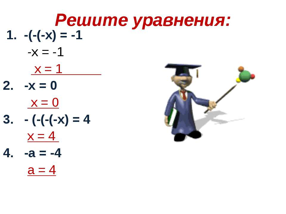 Решите уравнения: 1. -(-(-х) = -1 -х = -1 х = 1 2. -х = 0 х = 0 3. - (-(-(-х)...
