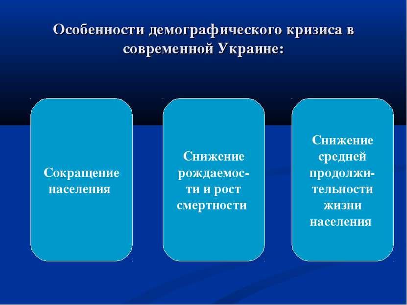 Особенности демографического кризиса в современной Украине: Сокращение населе...