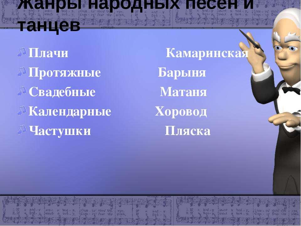 Жанры народных песен и танцев Плачи Камаринская Протяжные Барыня Свадебные Ма...