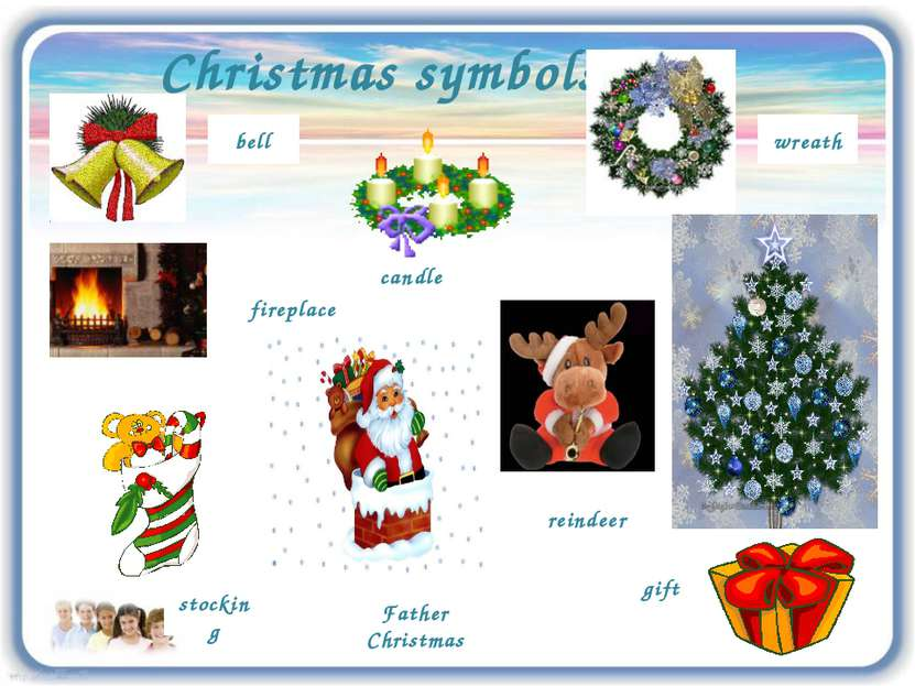 Christmas symbols wreath reindeer bell stocking fireplace Father Christmas ca...
