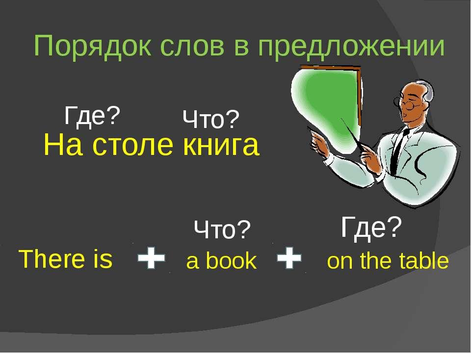 Порядок слов в предложении There is a book on the table Что? Где? На столе кн...