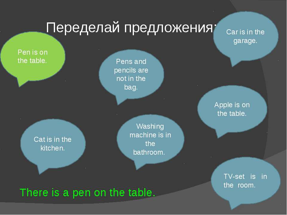 Переделай предложения: Pen is on the table. Car is in the garage. Pens and pe...