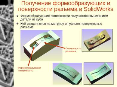 Получение формообразующих и поверхности разъема в SolidWorks Поверхность разъ...