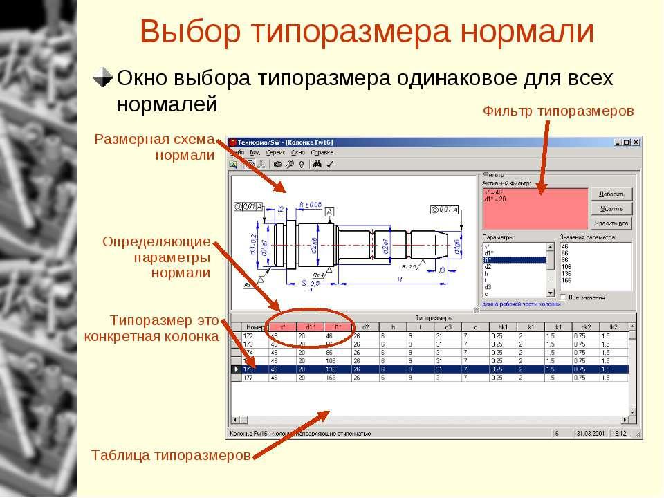 Выбор типоразмера нормали Размерная схема нормали Фильтр типоразмеров Таблица...