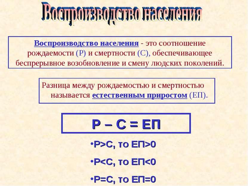 Р – С = ЕП Р>С, то ЕП>0 Р