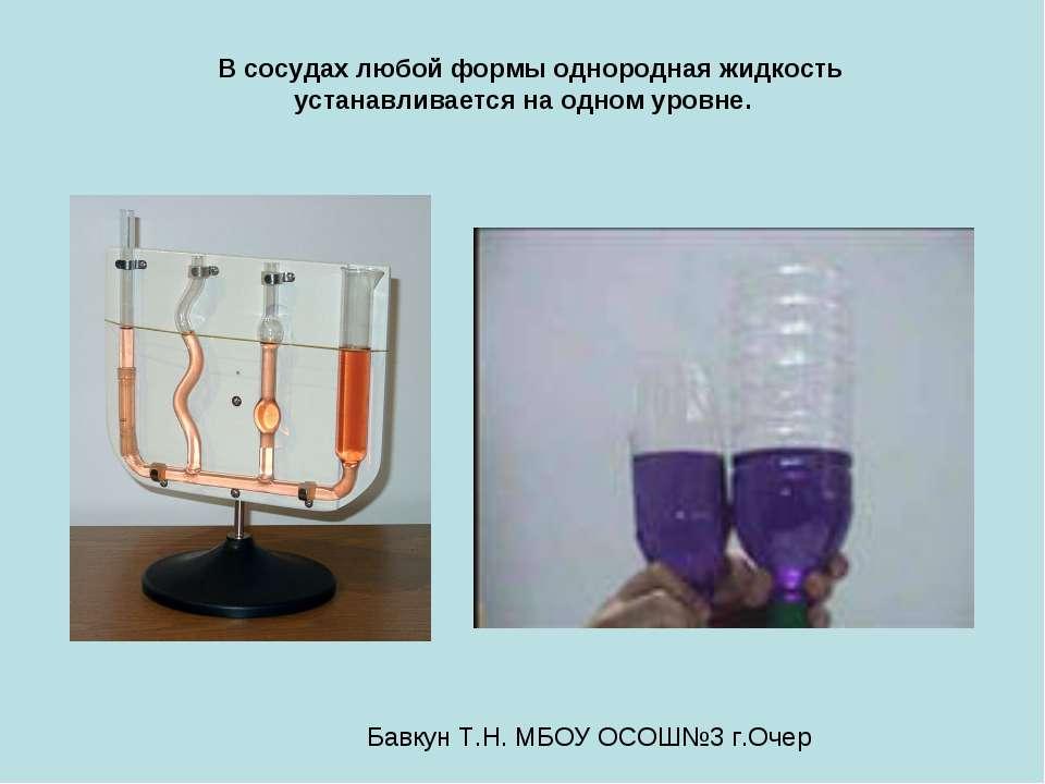 В сосудах любой формы однородная жидкость устанавливается на одном уровне. Ба...