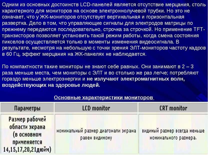 Одним из основных достоинств LCD-панелей является отсутствие мерцания, столь ...