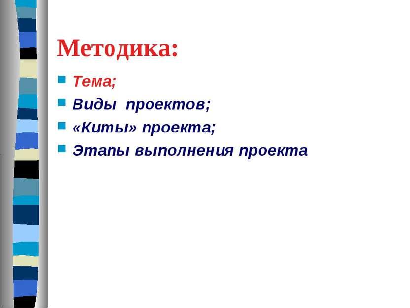 Методика: Тема; Виды проектов; «Киты» проекта; Этапы выполнения проекта