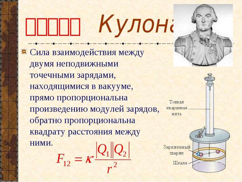 Закон Кулона Сила взаимодействия между двумя неподвижными точечными зарядами,...