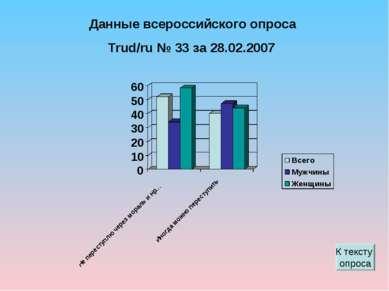 Данные всероссийского опроса Trud/ru № 33 за 28.02.2007 К тексту опроса