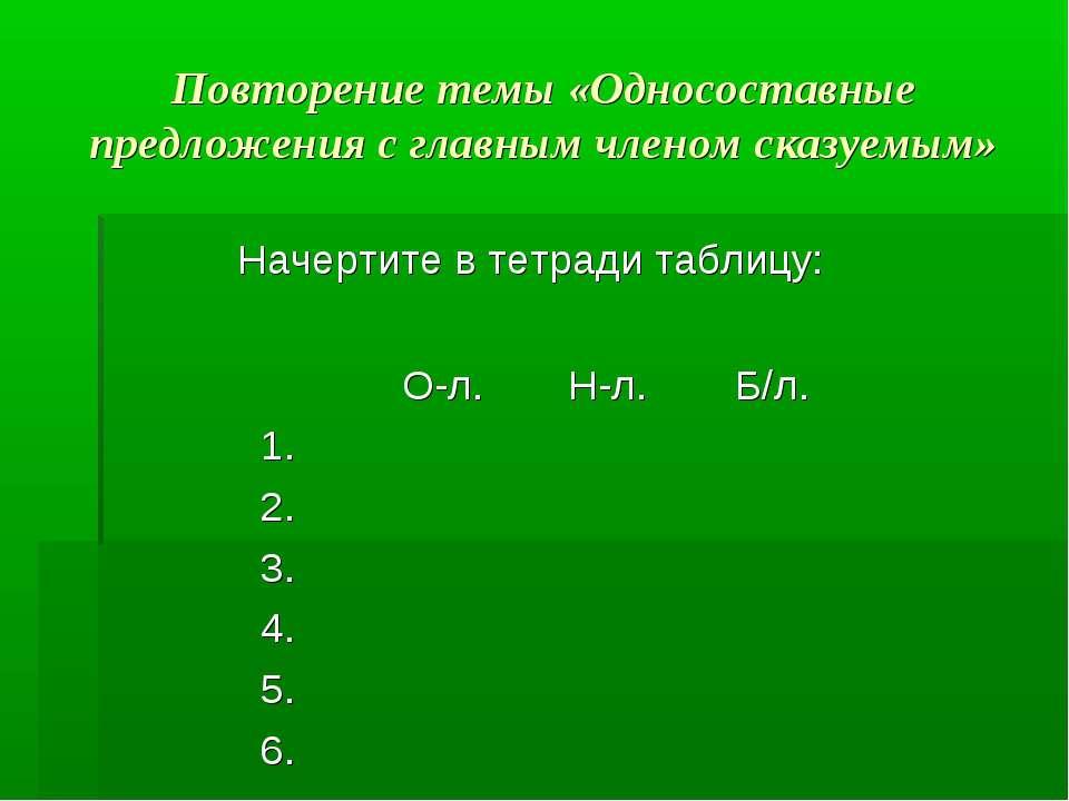 Повторение темы «Односоставные предложения с главным членом сказуемым» Начерт...