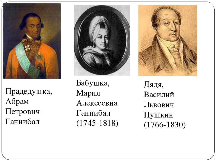 Бабушка, Мария Алексеевна Ганнибал (1745-1818) Прадедушка, Абрам Петрович Ган...
