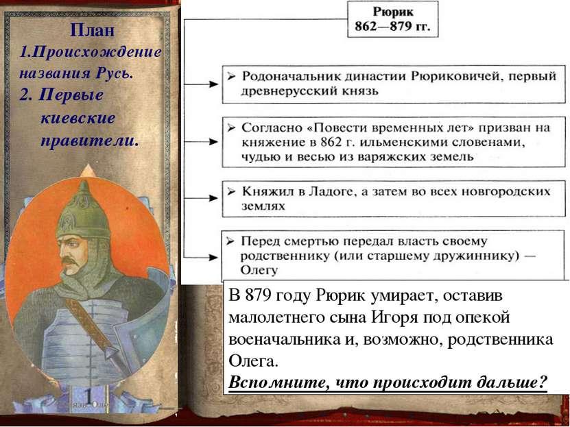 План 1.Происхождение названия Русь. 2. Первые киевские правители. Про Олега «...