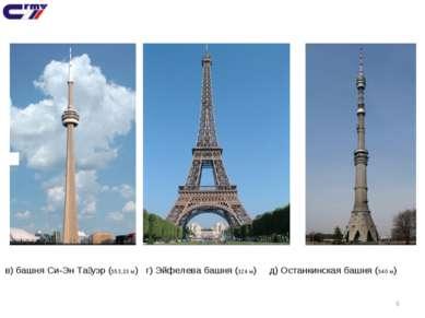* в) башня Си-Эн Та уэр (553,33 м) г) Эйфелева башня (324 м) д) Останкинская ...
