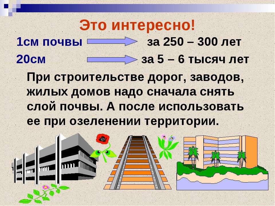 Это интересно! 1см почвы за 250 – 300 лет 20см за 5 – 6 тысяч лет При строите...
