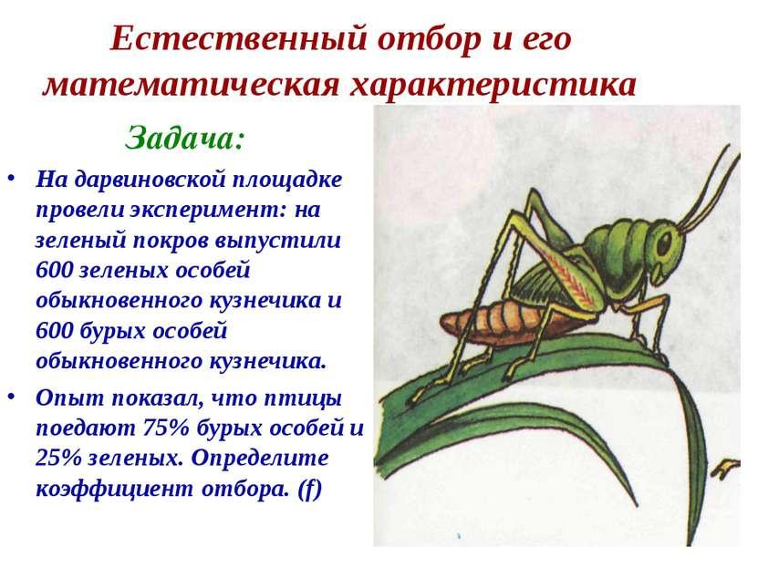 Естественный отбор и его математическая характеристика Задача: На дарвиновско...